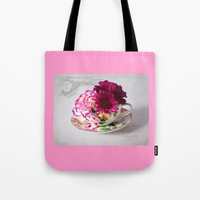 shabby chic Tote Bags featuring Shabby chic floral by inkedsandra