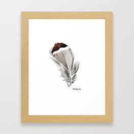 Bohemian Brown Tipped Chicken Feather Painting Framed Art Print