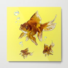 PRIZE WINNING BLACK-GOLDFISH YELLOW ART Metal Print