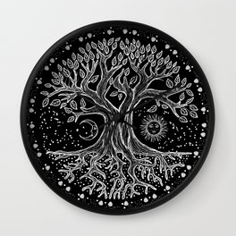 Tree of Life - black and white  Wall Clock