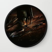 smaug Wall Clocks featuring The Desolation of Smaug by Artechniq