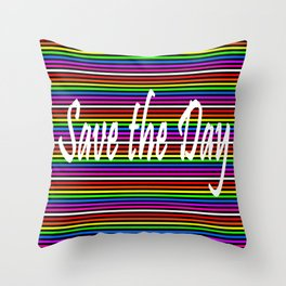 Save the day   Colorful Lines Throw Pillow
