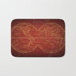 Antique Navigation World Map in Red and Gold Bath Mat