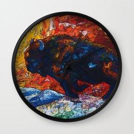 Bison Running Wall Clock