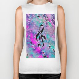 Artistic neon pink teal black watercolor classical music note Biker Tank