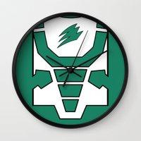 power ranger Wall Clocks featuring Green Spirit Ranger by JoSumdac