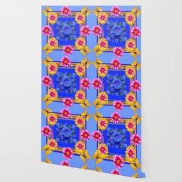 BUTTERFLIES FUCHSIA DAHLIA SUNFLOWER MORNING GLORY BLUE  FLORAL Wallpaper