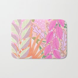 Modern Jungle Plants - Pink Green Purple Bath Mat