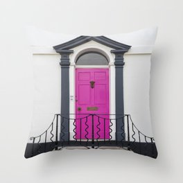 in through the pink door… a splash of colour for the front entrance door Throw Pillow