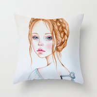 doll Throw Pillows featuring Doll by Black Fury