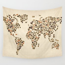 Cats Map of the World Map Wall Tapestry