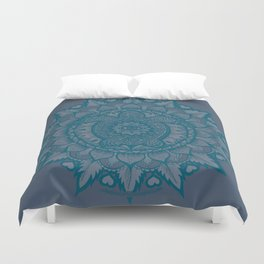Turtle Mandala by Julie Oakes Duvet Cover