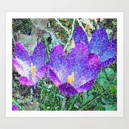 Purple Crocus Mosaic Art Print