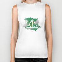 deathly hallows Biker Tanks featuring The Deathly Hallows (Slytherin) by FictionTea