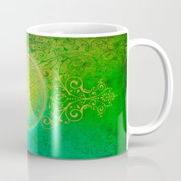 Flower Of Life Vintage gold green Coffee Mug