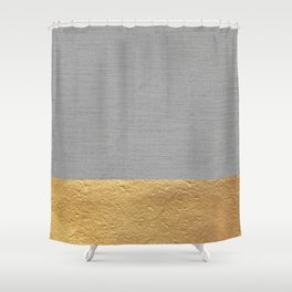 Color Blocked Gold & Grey Shower Curtain