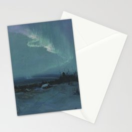 Northern Lights - Aurora Borealis Winter Scene by Sydney Lawrence Stationery Cards