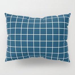 Prussian blue - blue color - White Lines Grid Pattern Pillow Sham