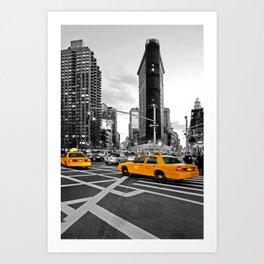NYC Yellow Cabs Flat Iron Building Art Print