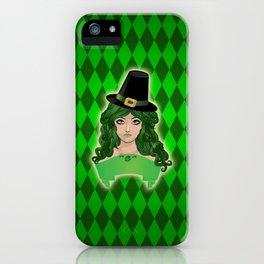 Leprechaun lady in black hat iPhone Case