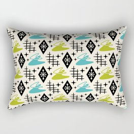 Mid Century Modern Boomerang Abstract Pattern Chartreuse and Turquoise 161 Rectangular Pillow