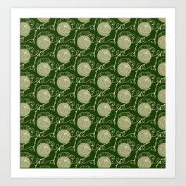 Floral Pattern   Subtle Green on Forest Green Art Print