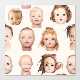 Doll Heads pink Canvas Print