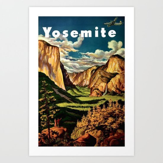 Art Yosemite Poster Vintage National Parks Travel Print Wall: Vintage Travel Art Print By