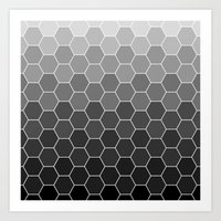 hexagon black Art Print