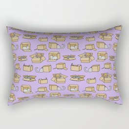 Cats in Cardboard Boxes, on Lavender Rectangular Pillow