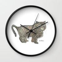 furry Wall Clocks featuring Furry Cat by Felis Simha