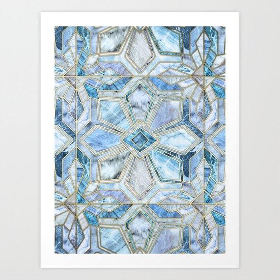 Geometric Gilded Stone Tiles in Soft Blues Art Print