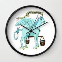 aquarius Wall Clocks featuring Aquarius by Dan Paul Roberts
