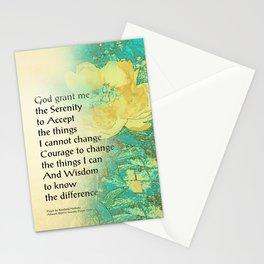 Serenity Prayer Peony Yellow Turquoise Stationery Cards