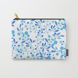Modern hand painted teal blue watercolor floral pattern Carry-All Pouch