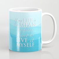 percy jackson Mugs featuring Live it myself - book quote from Percy Jackson and the Olympians by book quay
