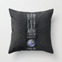faith Throw Pillows featuring faith by people do.