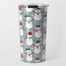 Snowman festive family fun snow day memories winter themed art pattern illustration Travel Mug