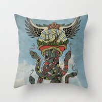 cthulu Throw Pillows featuring In To The Blue by Mark R. Skipper