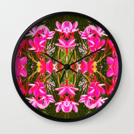 On Matlacha - Tropical Plumeria Leaves Flowers Pink Green Pattern Wall Clock