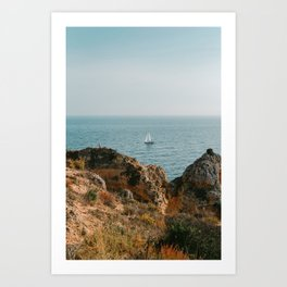 Sailboat along the Cliffs of Algarve, Portuagl Art Print