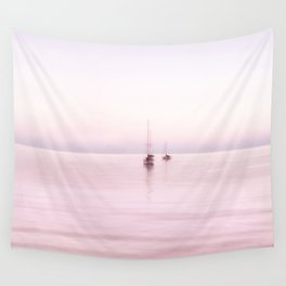 Pink Bahama Sunrise with sail boats Wall Tapestry