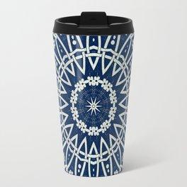 Mandala Bohemia Mosaic Navy Grey Travel Mug