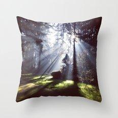 Sun rays through trees Throw Pillow