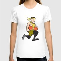 crossfit T-shirts featuring Crossfit Runner With Kettlebell Cartoon by patrimonio