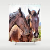 horses Shower Curtains featuring Horses   by Judith Altman