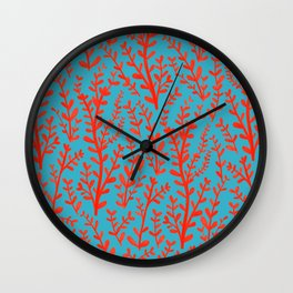 Turquoise and Red Leaves Pattern Wall Clock