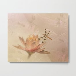 Dragonflies and Water Lily Metal Print