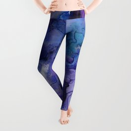 Abstract Watercolor Coastal, Indigo, Blue, Purple Leggings