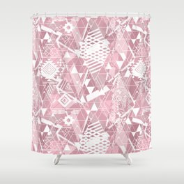 Abstract ethnic pattern in dusky pink, white colors. Shower Curtain